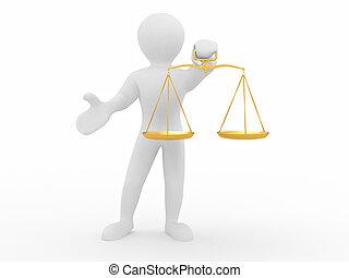 homme, à, scale., symbole, de, justice