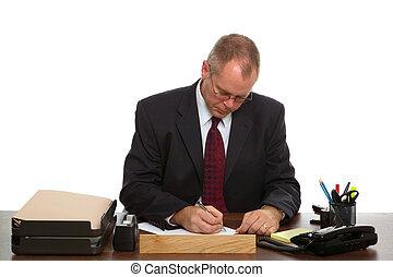 homme, à, sien, bureau
