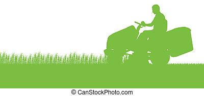 homme, à, tondeuse gazon, tracteur, herbe coupante, dans, champ, paysage, résumé, fond, illustration
