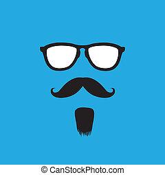 homme, à, vieux style, moustache, barbe, &, lunettes soleil,...