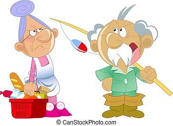 homme âgé, corvées ménage, femme
