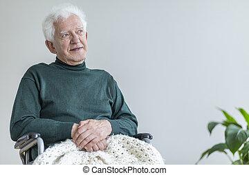 homme âgé, séance, dans, a, fauteuil roulant, et, pensée, sur, bon, times., endroit, ton, affiche