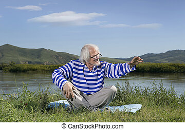 homme âgé, séance, sur, a, rive