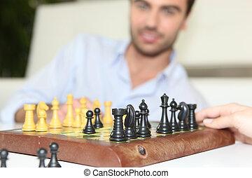 homme, échecs, jouer