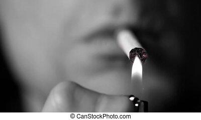 homme, éclairage, cigarette