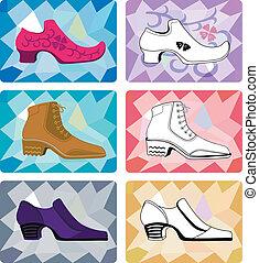 homme, élégant, chaussures, six