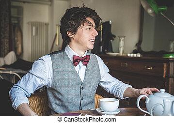 homme, élégant, jeune, hipster