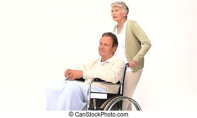 homme, épouse, sien, fauteuil roulant