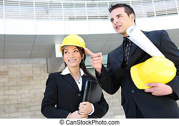 homme, équipe, femme, construction
