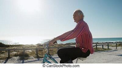homme, équitation, personne agee, vélo, plage
