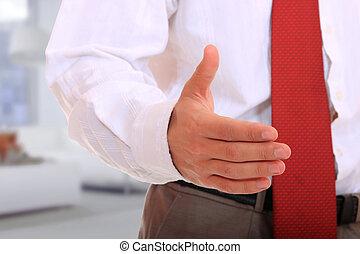 homme, étendre, secousse,  Business, main