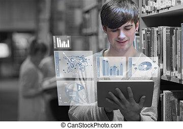 homme, étudier, jeune
