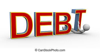 homme, 3d, dette, sous