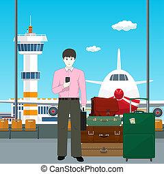 homme, aéroport, européen, bagage