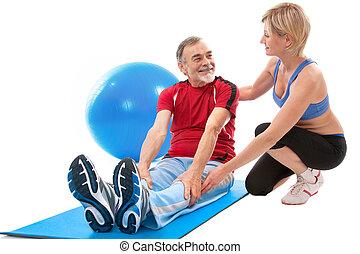 homme aîné, exercice, fitness