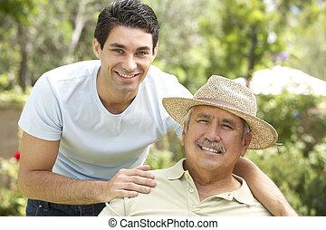 homme aîné, jardin, adulte, fils
