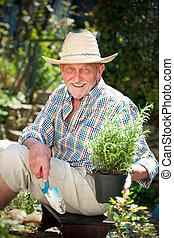 homme aîné, jardin, sourire