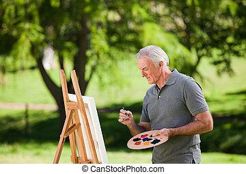 homme aîné, peinture, jardin