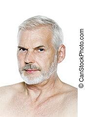 homme aîné, portrait, méfiance, songeur