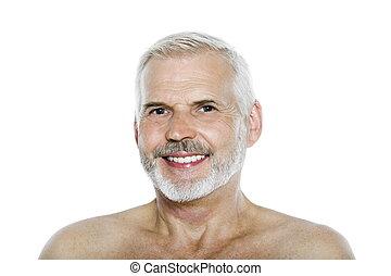homme aîné, portrait, sourire heureux