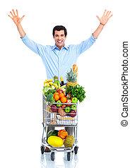 homme, achats, cart., heureux
