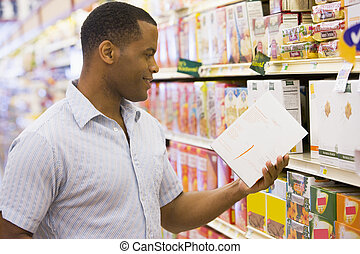 homme, achats, dans, supermarché