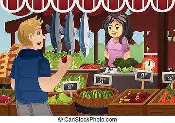 homme, achats, marché, agriculteurs