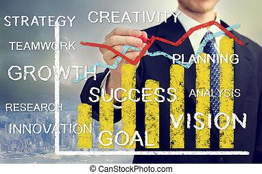 homme affaires, à, a, graphique, représenter, croissance
