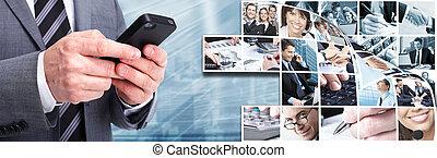 homme affaires, à, a, smartphone.