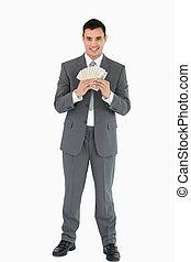 homme affaires, à, billets banque