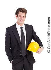 homme affaires, à, casque sûreté