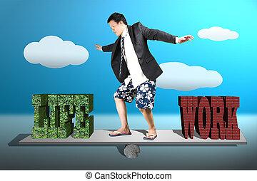 homme affaires, à, complet, short, et, plage, chaussures, surfer, sur, bascule, à, vie, et, travail, équilibre, concept