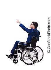 homme affaires, à, fauteuil roulant, isolé, blanc, fond