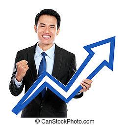 homme affaires, à, haut, diagramme, symbole, dans, main