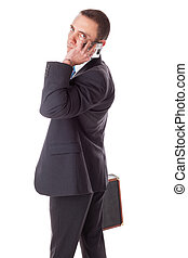 homme affaires, à, mobilephone