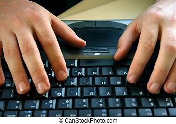 homme affaires, à, ordinateur portable, 32