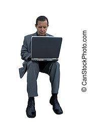 homme affaires, à, ordinateur portable, isolé