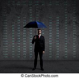 homme affaires, à, parapluie, placer partout, diagramme, arrière-plan., business, assurance, reportage, concept.