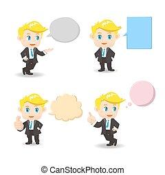 homme affaires, à, parole, bulles