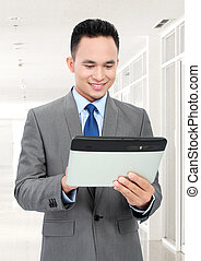 homme affaires, à, pc tablette