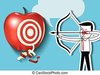homme affaires, à, pomme rouge, cible