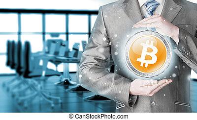 homme affaires, à, protecteur, geste, bitcoins