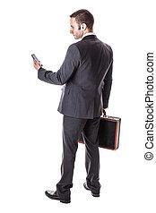 homme affaires, à, smartphone