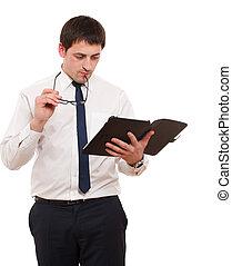 homme affaires, à, tablette, pc.