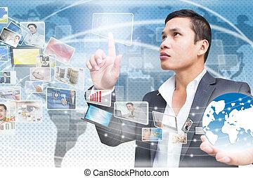 homme affaires, à, technologie