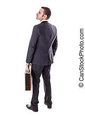 homme affaires, à, valise