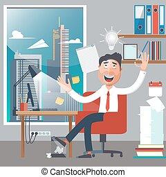 homme affaires, à, work., homme, avoir, une, idea., col blanc, dans, bureau., réussi, businessman., vecteur, illustration