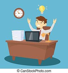 homme affaires, à, work., homme, avoir, une, idea., col blanc, dans, bureau., vecteur, illustration