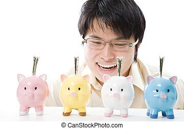 homme affaires, économie, asiatique, argent