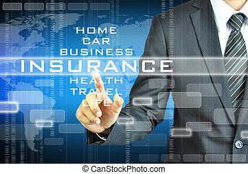 homme affaires, écran, signe, virsual, assurance, toucher